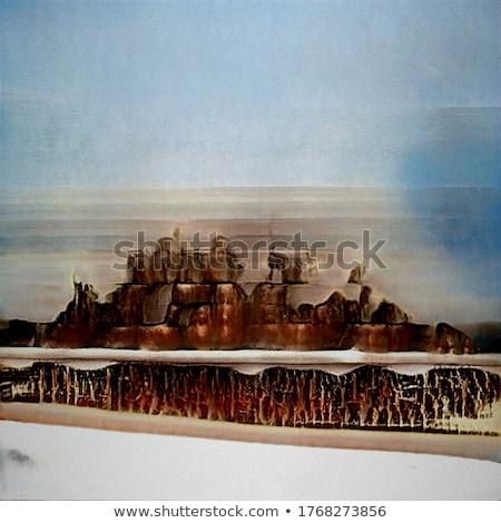 antigo · pirâmides · estilizado · pôr · do · sol · paisagem · chuva - foto stock © rwgusev