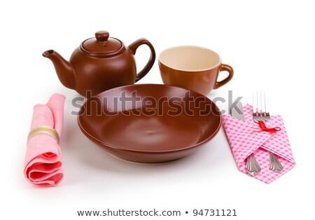 розовый чайник изолированный белый фон Сток-фото © kravcs