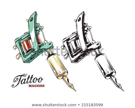 рисованной татуировка машина иллюстрация вектора монохромный Сток-фото © TRIKONA