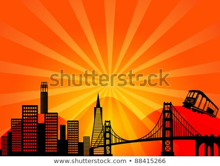 Сток-фото: San Francisco Skyline Trolley Sun Rays Illustration