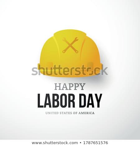 Grußkarte Geburtswehen Tag Text gelb Helm Stock foto © orensila