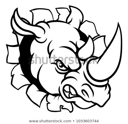 Rhino Mean Angry Sports Mascot Stock photo © Krisdog