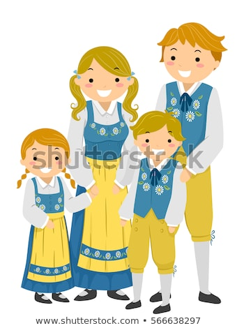 Stickman Family Traditional Swedish Clothes Stock photo © lenm