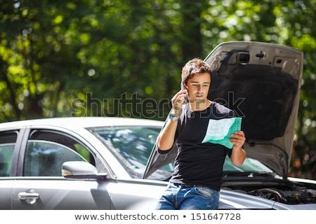 élégant · jeune · homme · voiture · brisé · vers · le · bas · bord · de · la · route - photo stock © lightpoet