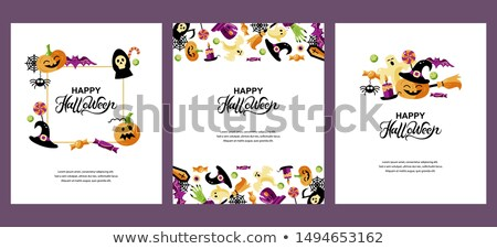 Sevimli mutlu halloween vektör tebrik kartı düzen Stok fotoğraf © Pravokrugulnik