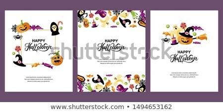 cute happy halloween vector greeting card layout stock photo © pravokrugulnik