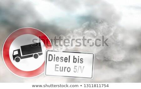 дорожный знак дизельный евро небе автомобилей дороги Сток-фото © djdarkflower