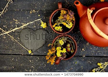 beker · thee · lavendel · bloemen · oude · houten - stockfoto © illia