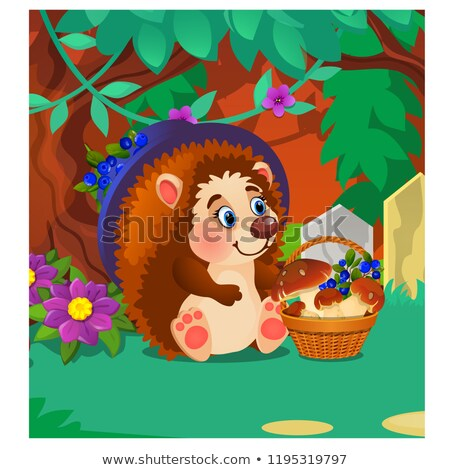 Hedgehog with a ripe wild berries and mushrooms. Sample of poster, party holiday invitation, festive Stock photo © Lady-Luck