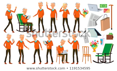 Old Man Poses Set Vector. Asian. Elderly People. Senior Person. Aged. Positive Pensioner. Advertisin Stock photo © pikepicture