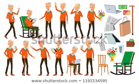 старик набор вектора азиатских пожилого люди Сток-фото © pikepicture