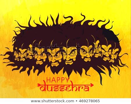 ravana with ten heads for navratri festival of india poster for dussehra stock photo © vectomart