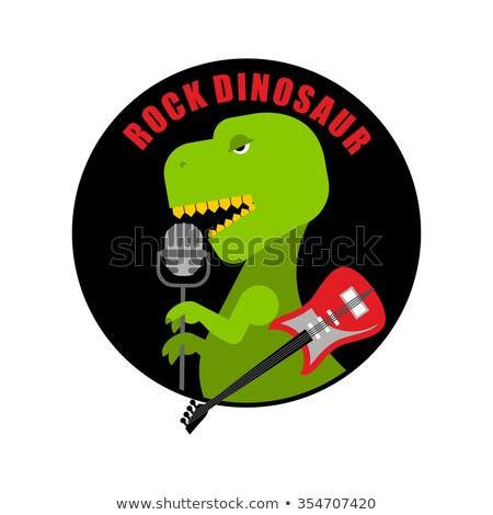 Emblem of  rock dinosaur. Logo for old fans of rock music. T-Rex Stock photo © popaukropa