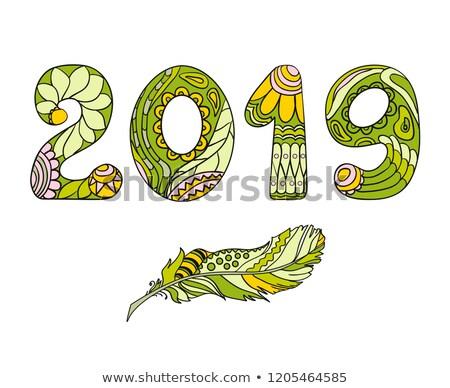 Happy new year kabile tebrik kartı ayarlamak tatil şablon Stok fotoğraf © cienpies