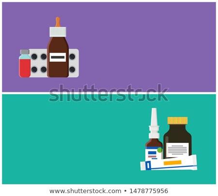 Lek apteki internetowych promo plakaty zestaw Zdjęcia stock © robuart