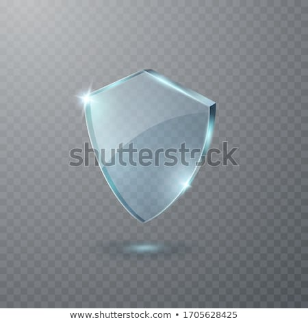 Transparent blue glass shield icon on transparent background. Vector illustration Stock photo © olehsvetiukha