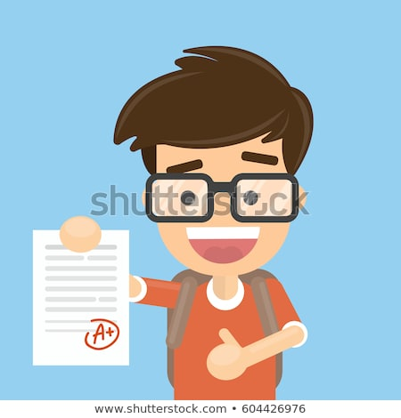 happy student holding paper with excellent test exam result vector isolated illustration stock photo © pikepicture