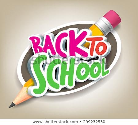 Vissza az iskolába szalag cím vektor ikon hangerő Stock fotó © robuart