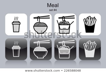 Stockfoto: French Fries And Noodles Set Vector Illustration