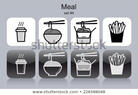 Patates kızartması makarna ayarlamak paket kutu fast-food Stok fotoğraf © robuart