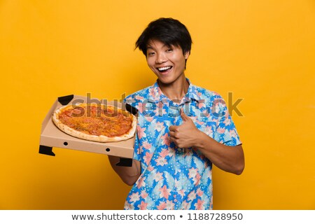 mutlu · genç · Asya · adam · ayakta · yalıtılmış - stok fotoğraf © deandrobot