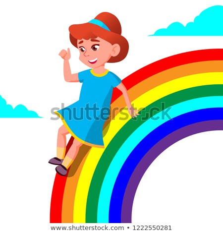 happy child girl rolling down the rainbow vector illustration stock photo © pikepicture