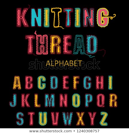Stock photo: Knitting font, fairisle thread abc. Embroidered hand drawn alphabet