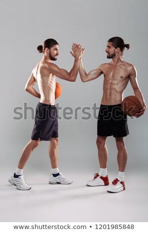 портрет два мышечный рубашки близнец братья Сток-фото © deandrobot
