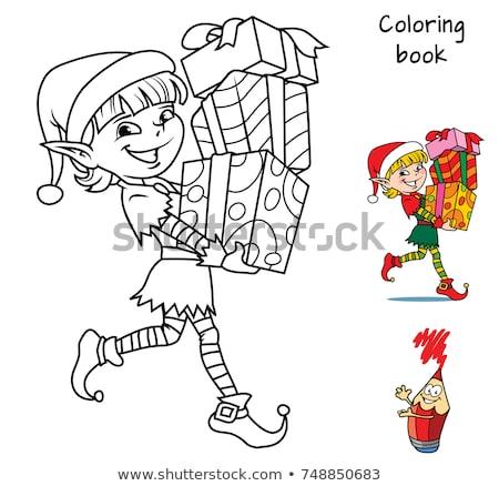 maze with santa characters color book stock photo © izakowski