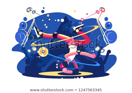 Breakdancer dancing on stage flat poster Stock photo © jossdiim