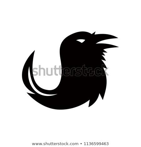 Corvo caneta cauda ícone estilo retro ilustração Foto stock © patrimonio