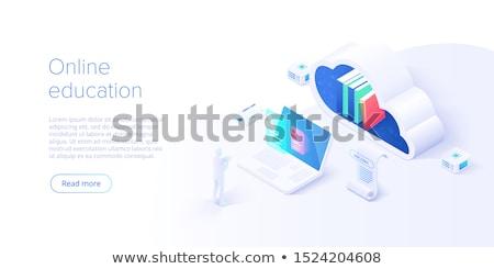 Online oktatás vágány leszállás oldal diákok Stock fotó © RAStudio