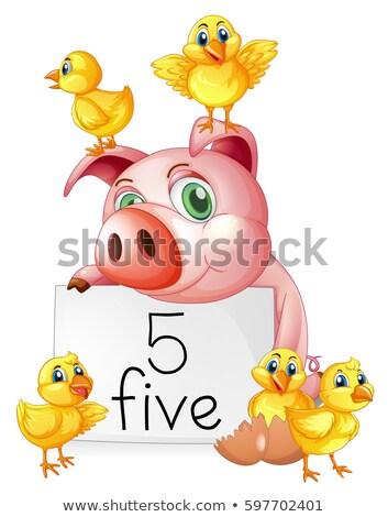 Disznó öt kicsi illusztráció papír Stock fotó © colematt