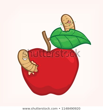 Red apple with two worms on it Stock photo © colematt