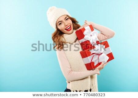 портрет счастливая девушка свитер шарф изолированный бежевый Сток-фото © deandrobot
