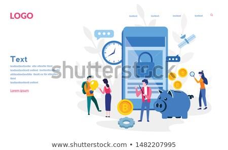 Pessoas analista trabalhando começar para cima cartaz Foto stock © robuart