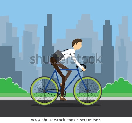Young handsome man riding bicycle vector illustration. stock photo © Vicasso