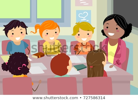 Stickman Kids Teacher Council Meeting Illustration Stock photo © lenm