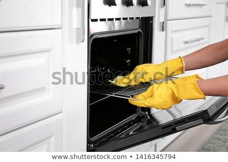 女性 · 洗浄 · オーブン · キッチン · 小さな · 幸せ - ストックフォト © andreypopov