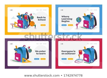 Carte postale modèle différent outils illustration papier Photo stock © colematt