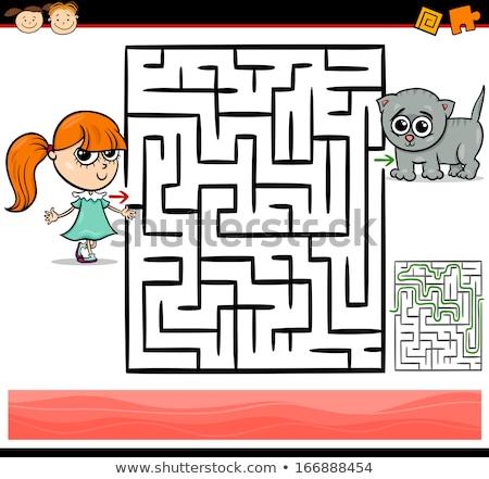 Cartoon лабиринт игры девушки кошки иллюстрация Сток-фото © izakowski