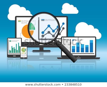 Developer with magnifier, developer with laptop and big data vector illustration. Stock photo © RAStudio