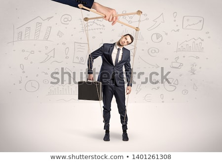 Puppet employee with documents and staffs around Stock photo © ra2studio