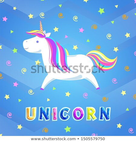 Rainbow forte corne courir cartoon ciel Photo stock © robuart