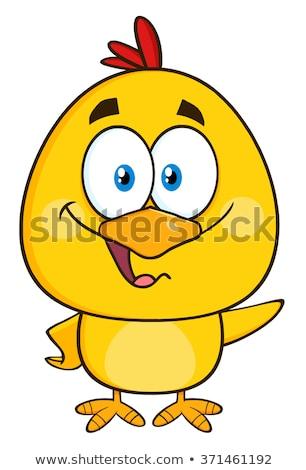 Citromsárga csirke rajzfilmfigura integet izolált fehér Stock fotó © hittoon