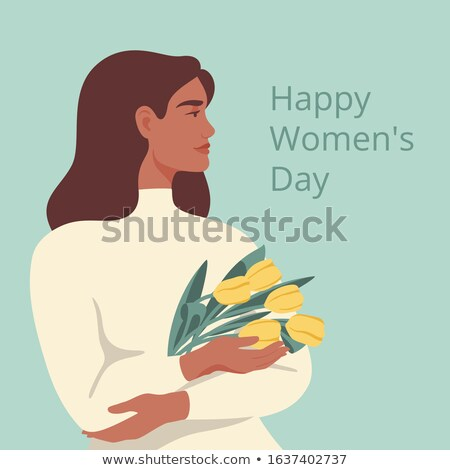 8 March. Womens Day Greeting Card Design with Young Woman Silhouette and Tulip Flower. International Stock photo © articular