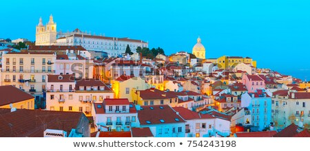 sunset over lisbon old town alfama   portugal stock photo © matimix
