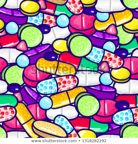 lot of pills and capsules medicine or dietary supplements healthy lifestyle alcohol markers style stock photo © user_10144511