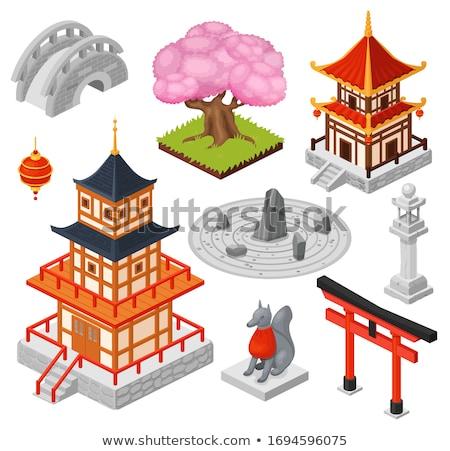 Japon ev sakura vektör yalıtılmış karikatür Stok fotoğraf © pikepicture