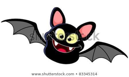 black and white happy vampire bat cartoon character flying stock photo © hittoon